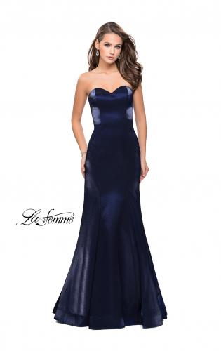 Picture of: Strapless Long Mermaid Prom Dress in Two Tone Satin, Style: 25383, Detail Picture 2