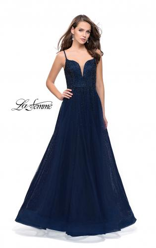Picture of: A-line Dress with Rhinestones and Tulle Skirt, Style: 25636, Detail Picture 2