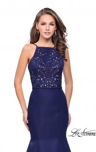 Picture of: Long Mermaid Prom Dress with Laser Cut Pattern Detail, Style: 25650, Detail Picture 2