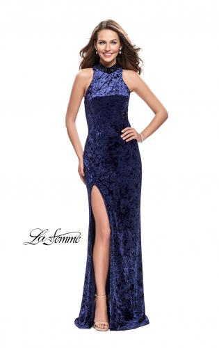 Picture of: Long Crushed Velvet Prom Dress with Beaded Choker, Style: 25783, Detail Picture 2