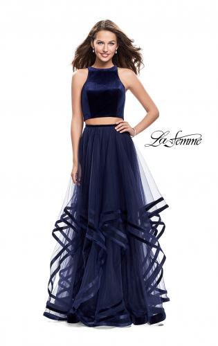 Picture of: Two Piece Tulle Gown with Velvet High Neck Top, Style: 25817, Detail Picture 2