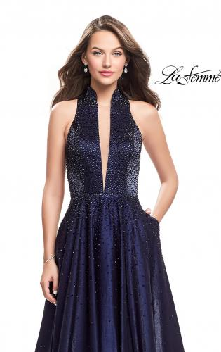 Picture of: Satin Ball Gown with Tonal Beading and Back Cutout, Style: 25986, Detail Picture 2