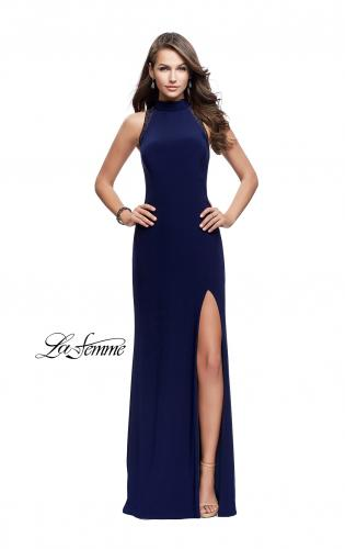 Picture of: Long Form Fitting Prom Gown with Sheer Beaded Detail, Style: 26004, Detail Picture 2