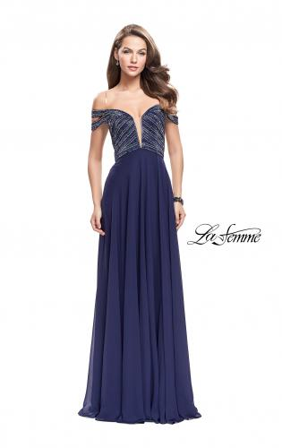 Picture of: A-Line Prom Gown with Beaded Bodice and Chiffon Skirt, Style: 26059, Detail Picture 2