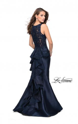 Picture of: Long Mermaid Gown with Lace Back and Ruffles, Style: 26217, Detail Picture 2