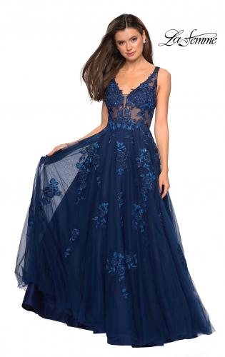 3eaa2c9983 ... Detail Picture of  Sheer Bodice Prom Dress with Floral Embellishments