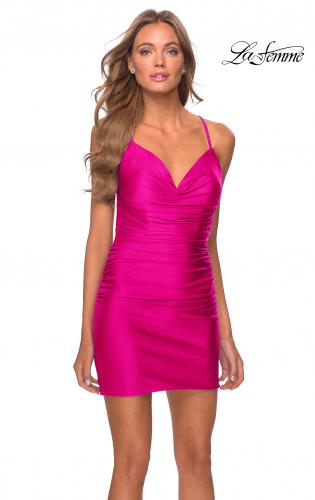 Picture of: Fitted Ruched Short Jersey Dress with Open Back in Neon Pink, Style: 29581, Main Picture