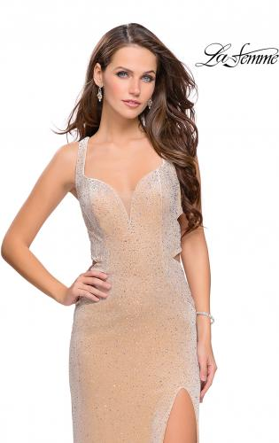 Picture of: Velvet Prom Dress Covered in Rhinestones with Side Cut Outs, Style: 25266, Main Picture