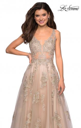 e5a8b873a1d6 Picture of: Sheer Bodice Prom Dress with Floral Embellishments, Style:  27647, ...