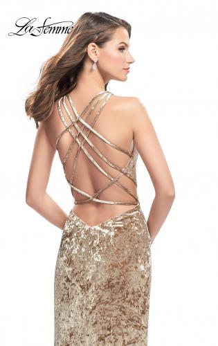 Picture of: Crushed Velvet Prom Dress with High Neckline and Leg Slit, Style: 25734, Back Picture