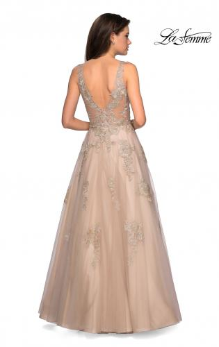 cd042f71c1 ... Main Picture of  Sheer Bodice Prom Dress with Floral Embellishments