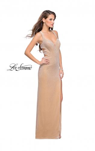 Picture of: Velvet Prom Dress Covered in Rhinestones with Side Cut Outs, Style: 25266, Detail Picture 1