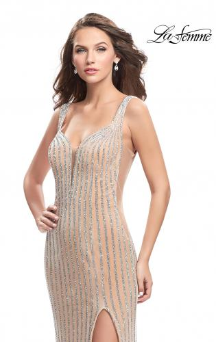 Picture of: Form Fitting Metallic Beaded Prom Dress with Cut Outs, Style: 25569, Detail Picture 1