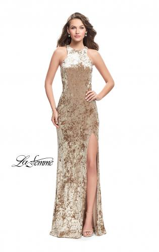 Picture of: Crushed Velvet Prom Dress with High Neckline and Leg Slit, Style: 25734, Detail Picture 1