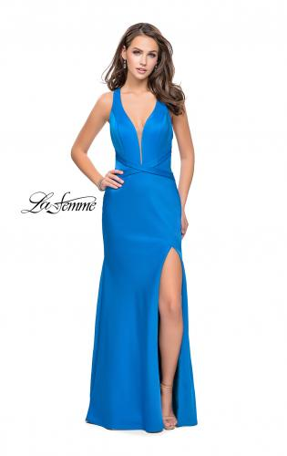 Picture of: Halter Top Prom Dress with Deep V Neckline and Slit, Style: 25904, Main Picture