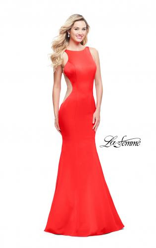 Picture of: Satin Mermaid Prom Gown with Mesh and Scoop Back, Style: 26076, Detail Picture 2