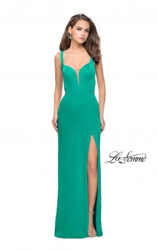 Picture of: Form Fitting Satin Gown with Side Cut Outs and V Neckline, Style: 25853, Detail Picture 2