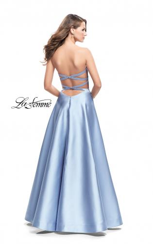 Picture of: Strapless A-line Prom Dress with Cape Skirt and Pockets, Style: 25738, Back Picture