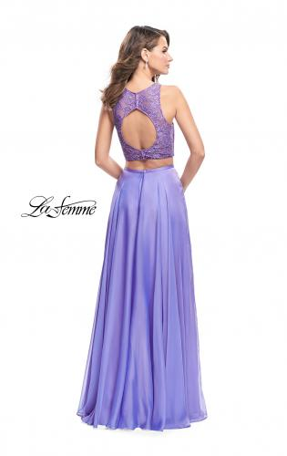 Picture of: Two Piece Prom Gown with Beaded lace Top and Pockets, Style: 26087, Back Picture