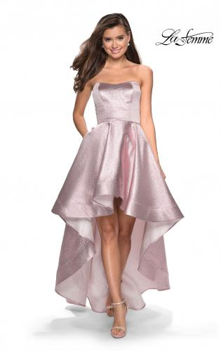 6a03085870e Picture of  Metallic High-Low Strapless Dress with Pockets