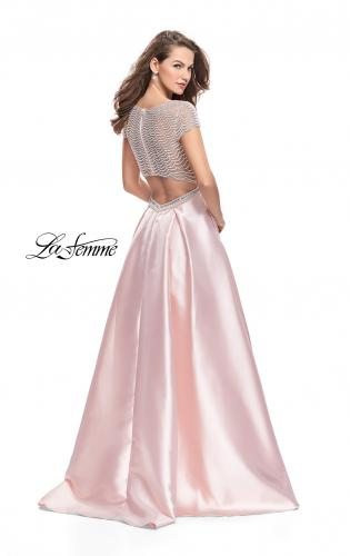 Picture of: Mikado Prom Dress with Pearl Beaded Cap Sleeves, Style: 26327, Back Picture