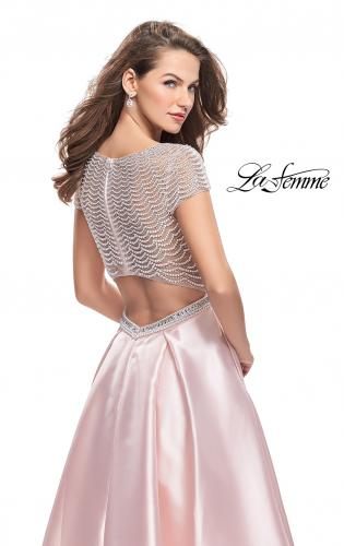 Picture of: Mikado Prom Dress with Pearl Beaded Cap Sleeves, Style: 26327, Detail Picture 2