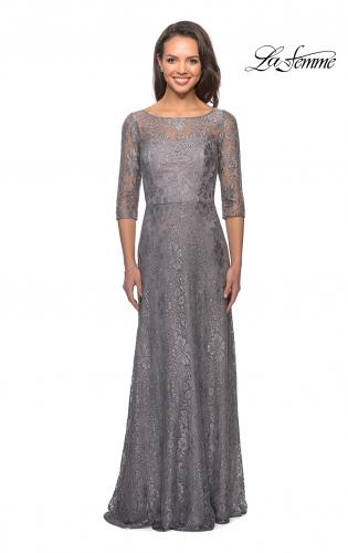 ceb3f888ad8e ... Style Picture of: Long Lace Dress with Empire Waist and 3/4 Sleeves, ...