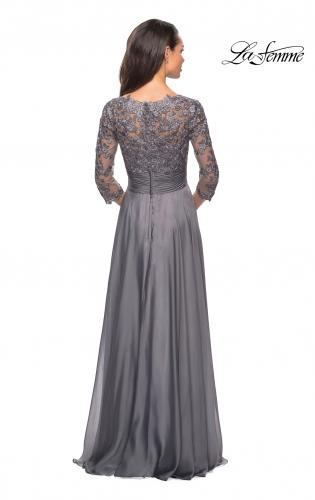 ac78acc5d1 ... Detail Picture of: Floor Length Chiffon Dress with Lace Sleeves, Style:  27153, Detail