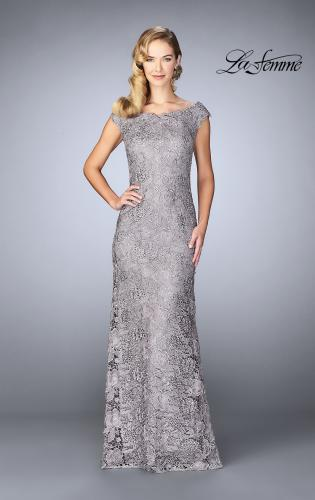 Picture of: Long Metallic Lace Prom Dress with Boat neck, Style: 24860, Main Picture
