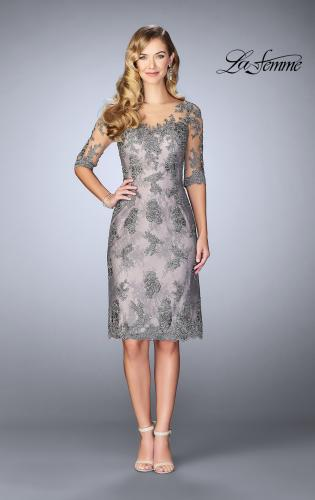 Picture of: Short Dress with Lace Applique and Illusion Sleeves, Style: 24878, Main Picture