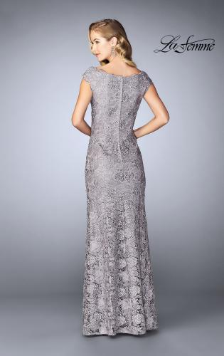 Picture of: Long Metallic Lace Prom Dress with Boat neck, Style: 24860, Back Picture