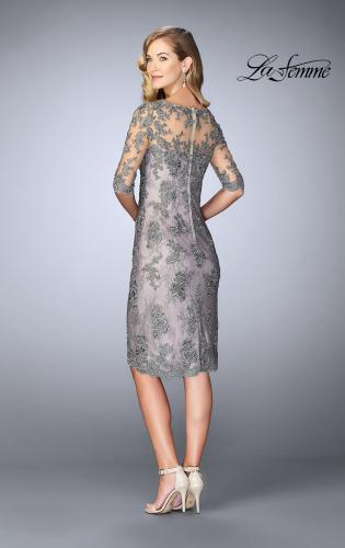 Picture of: Short Dress with Lace Applique and Illusion Sleeves, Style: 24878, Back Picture