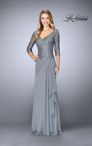 Picture of: Crepe Chiffon Gown with Lace Sweetheart Neckline, Style: 24857, Detail Picture 1