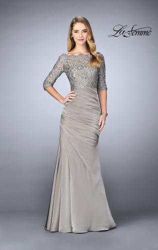 Picture of: Gathered Mermaid Satin Gown with Lace Top, Style: 24926, Detail Picture 1