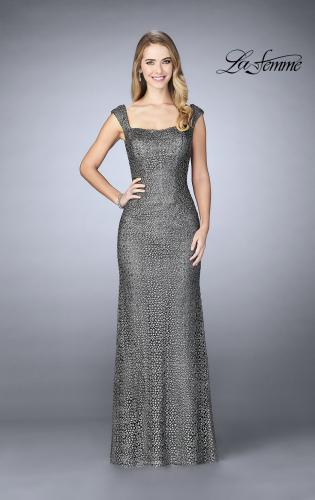 Picture of: Lace Evening Gown with Thick Straps and Beading, Style: 24891, Detail Picture 2