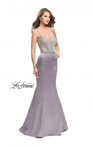 Picture of: Mermaid Prom Dress with Beaded Top and Strappy Back, Style: 24691, Main Picture