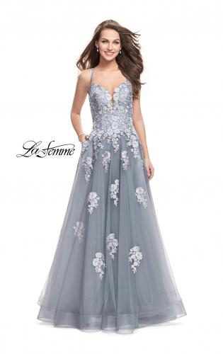 Picture of: Long Floral Lace Ball Gown with Tulle Skirt, Style: 26236, Main Picture