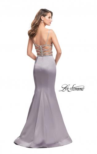 Picture of: Mermaid Prom Dress with Beaded Top and Strappy Back, Style: 24691, Back Picture