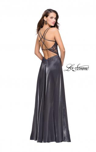Picture of: Two Tone A-line Gown with Lace Bodice and Leg Slit, Style: 25907, Back Picture