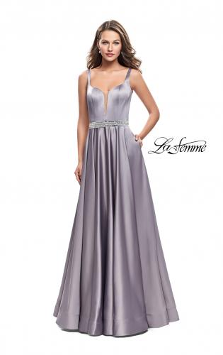 Picture of: Satin Prom Dress with A Line Skirt and Beaded Belt., Style: 24821, Detail Picture 1
