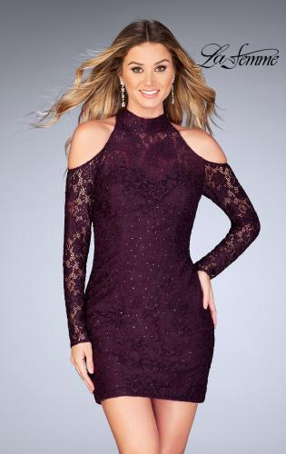 Picture of: Short Lace Dress with Shoulder Cut Outs and Open Back, Style: 25170, Detail Picture 1