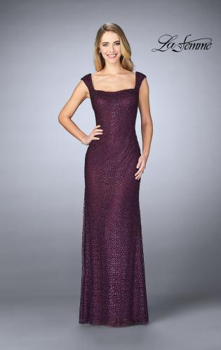 Picture of: Lace Evening Gown with Thick Straps and Beading, Style: 24891, Main Picture