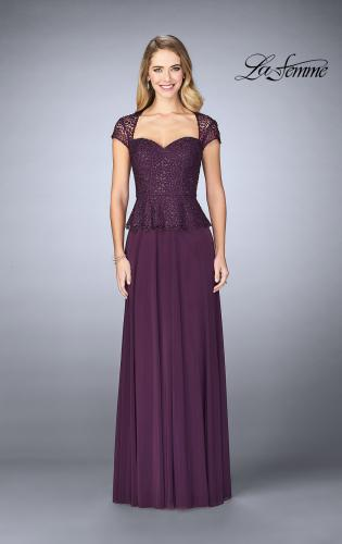 Picture of: Beaded Lace Evening Dress with Cap Sleeves and Peplum, Style: 24915, Detail Picture 1
