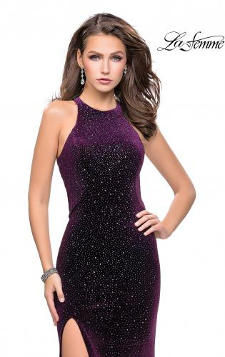 Picture of: Long Sparkling Velvet Prom Dress with Open Racer Back, Style: 25517, Detail Picture 1
