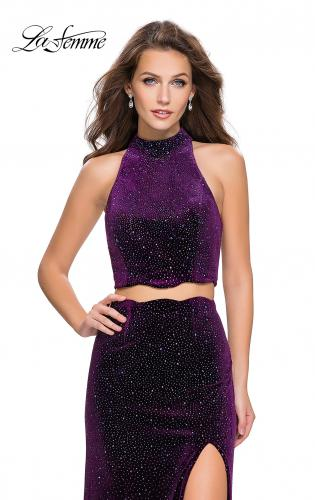 Picture of: Two Piece Velvet Prom Dress with Scallop Detail and Slit, Style: 25667, Detail Picture 2