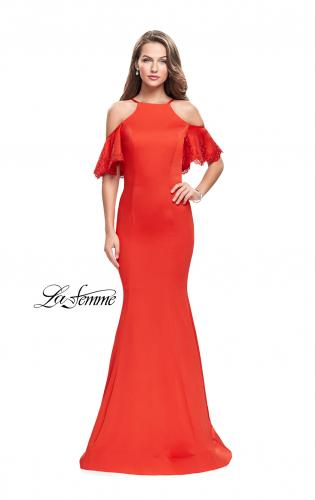 Picture of: Form Fitting Satin Mermaid Dress with Shoulder Cutouts, Style: 26145, Main Picture