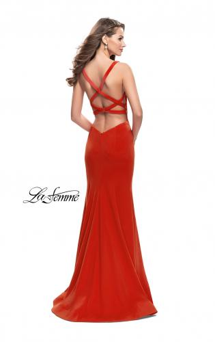 Picture of: Long Form Fitting Jersey Prom Dress with Open Back, Style: 25651, Back Picture