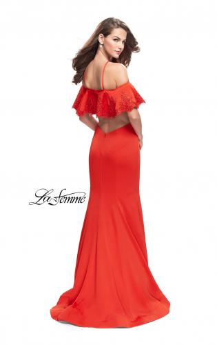 Picture of: Form Fitting Satin Mermaid Dress with Shoulder Cutouts, Style: 26145, Back Picture