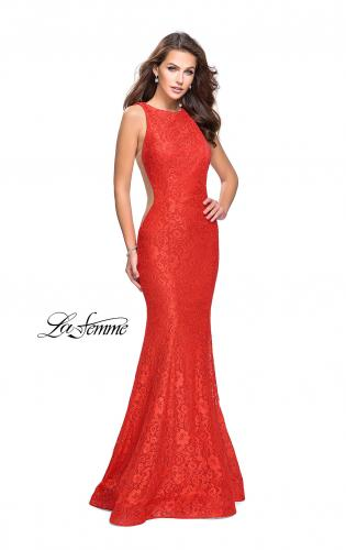 Picture of: Lace Mermaid Dress with Sheer Sides and Low Back, Style: 24903, Detail Picture 2