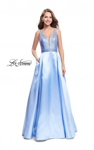 Picture of: A-line Pleated Satin Prom Gown with Metallic Beading, Style: 26293, Main Picture